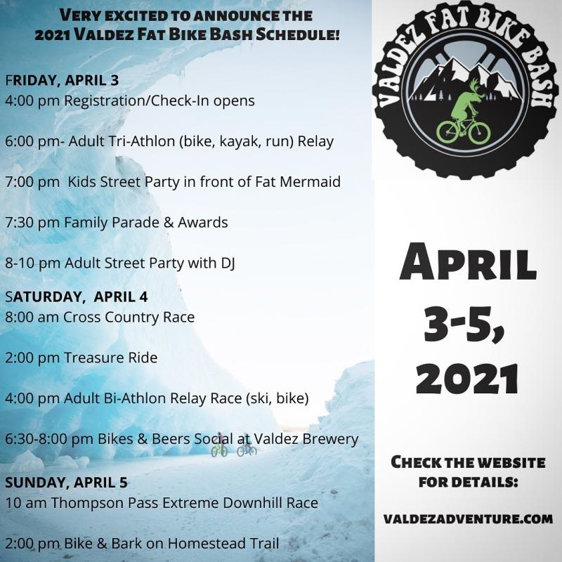 an events schedule with a logo of a mountain biker