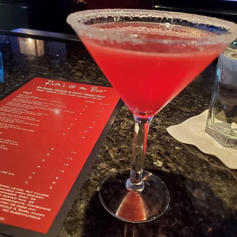 Menu and Red Cocktail From Ruth's Chris Steak House In Virginia Beach