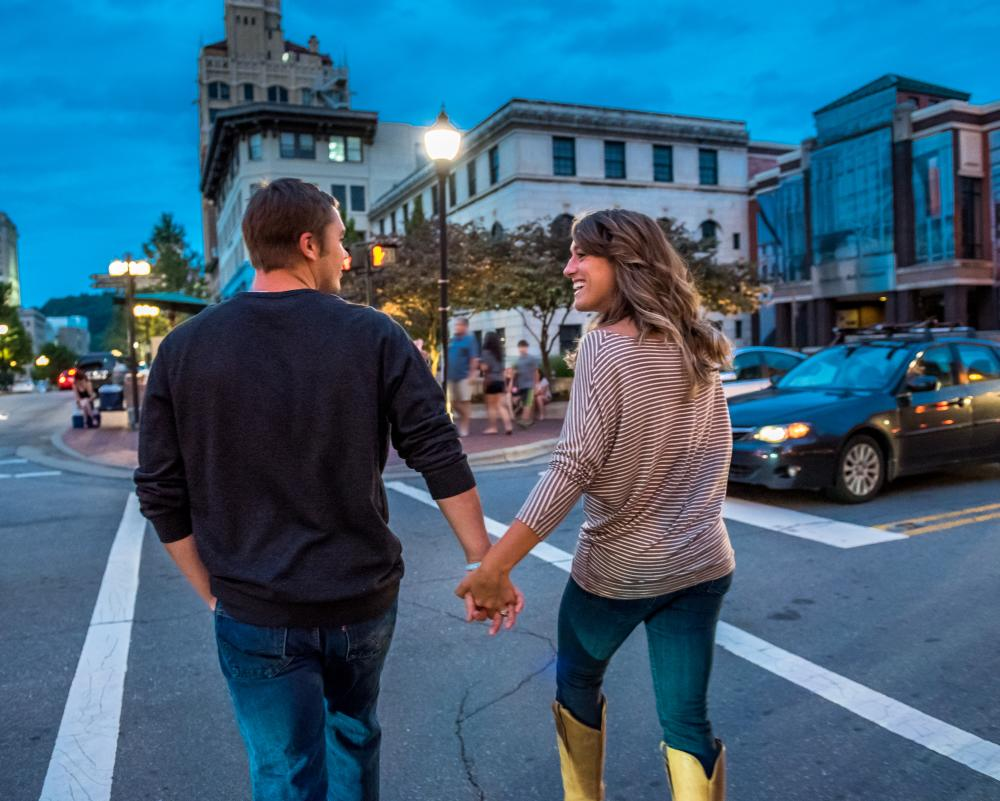 Couple Strolling in Downtown Asheville