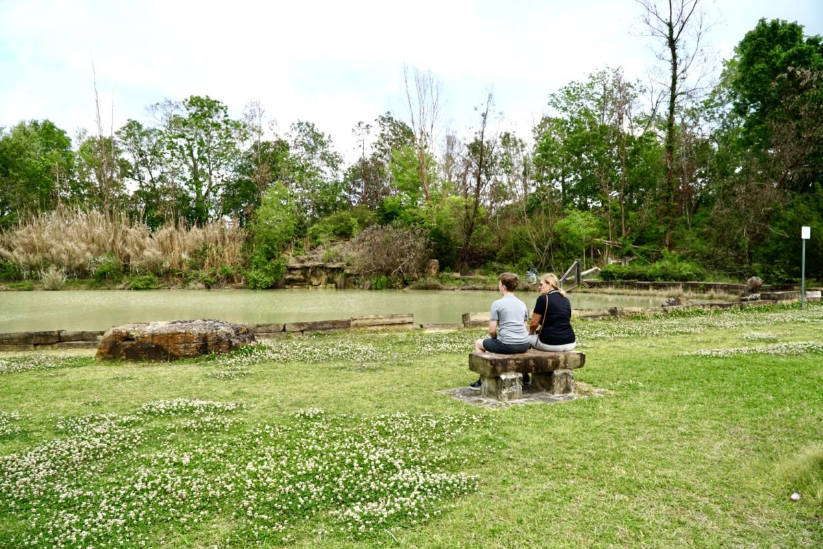 Two People Sitting On A Bench At The Beaumont Botanical Gardens