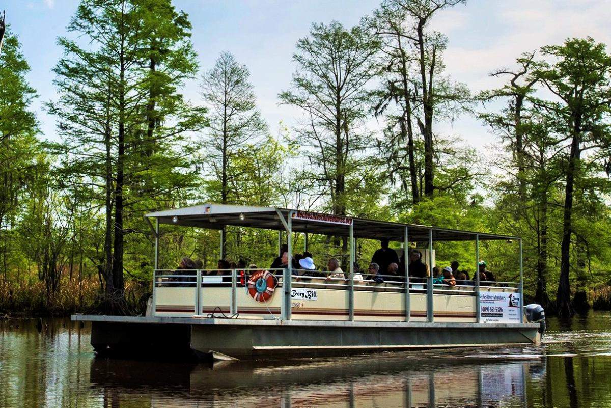 Pantoon boat tour from the Neches River Adventures