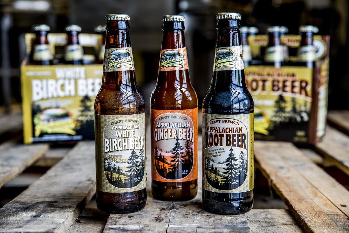 Root beer, Birch beer, and Ginger beer from Appalachian Brewing Company