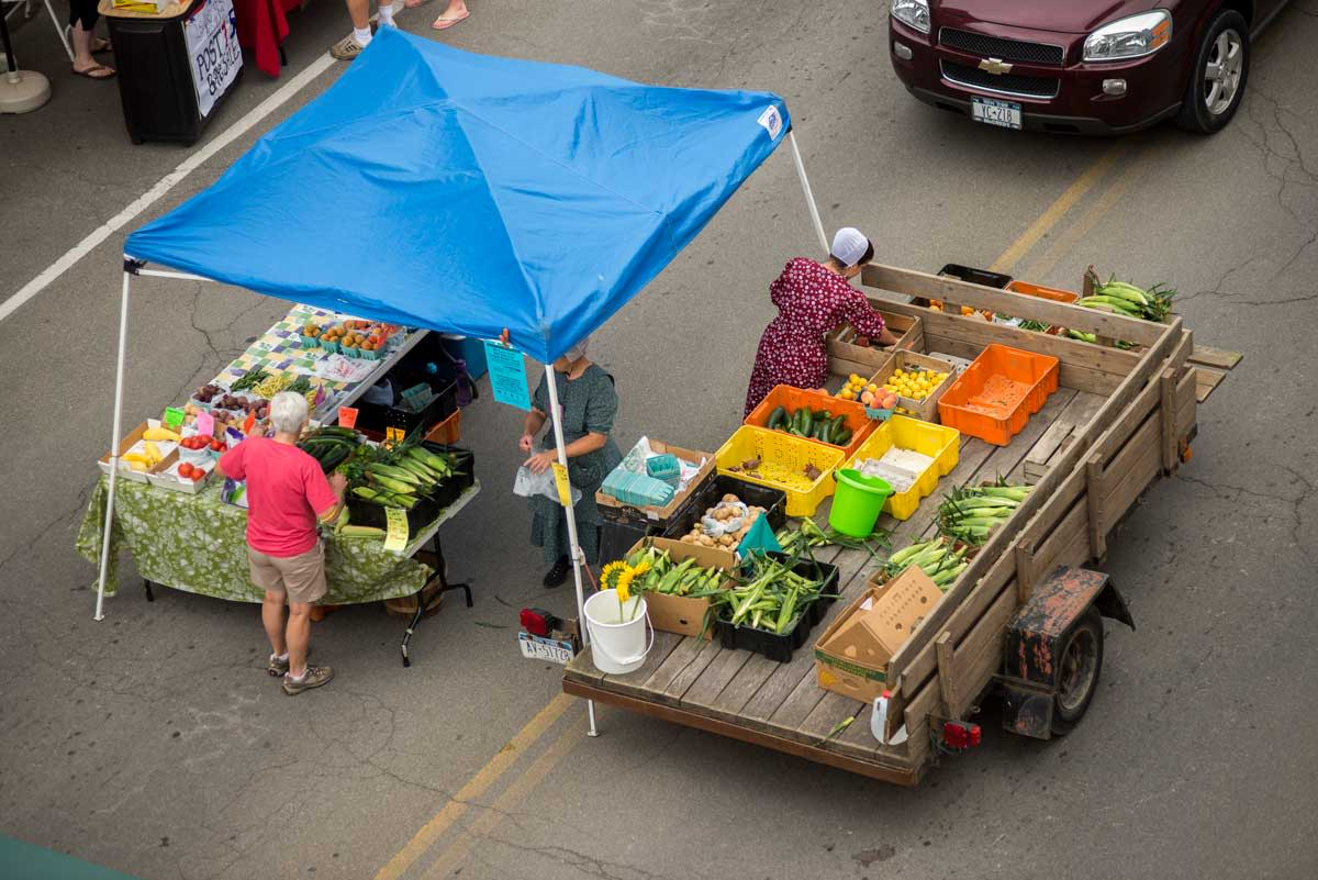 outdoor summer farmers market in Yates County New York in Finger Lakes Wine Country