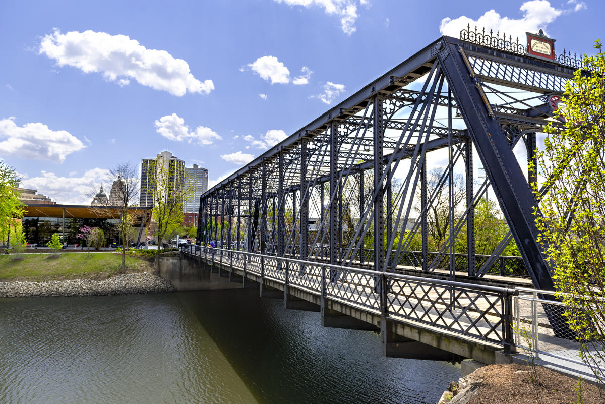 View of the Wells Street Bridge at Promenade Park in Downtown Fort Wayne
