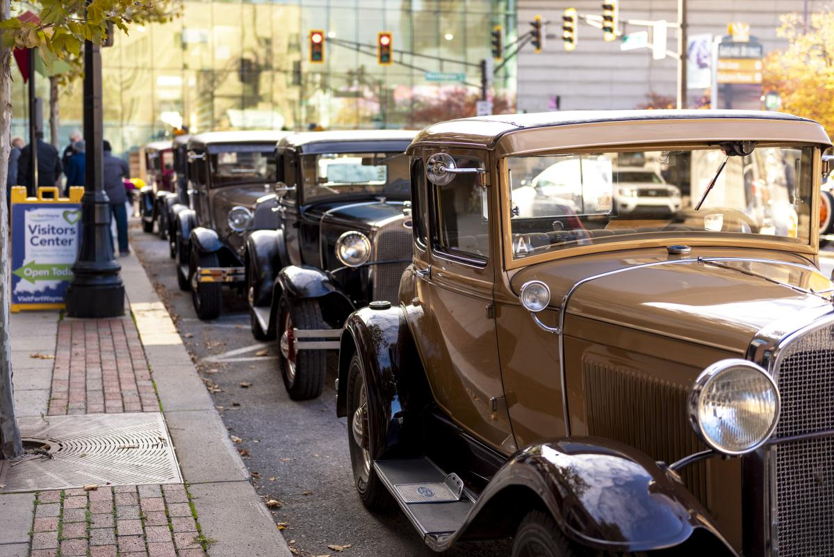 Old Fort Model A Cars Along Harrison Street for Lincoln Highway Dedication