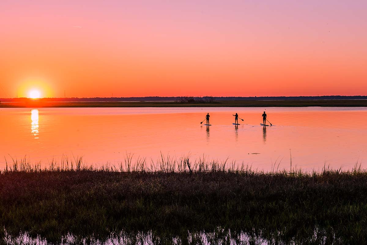 A group paddles on paddleboards into the sunset at St. Simons Island.