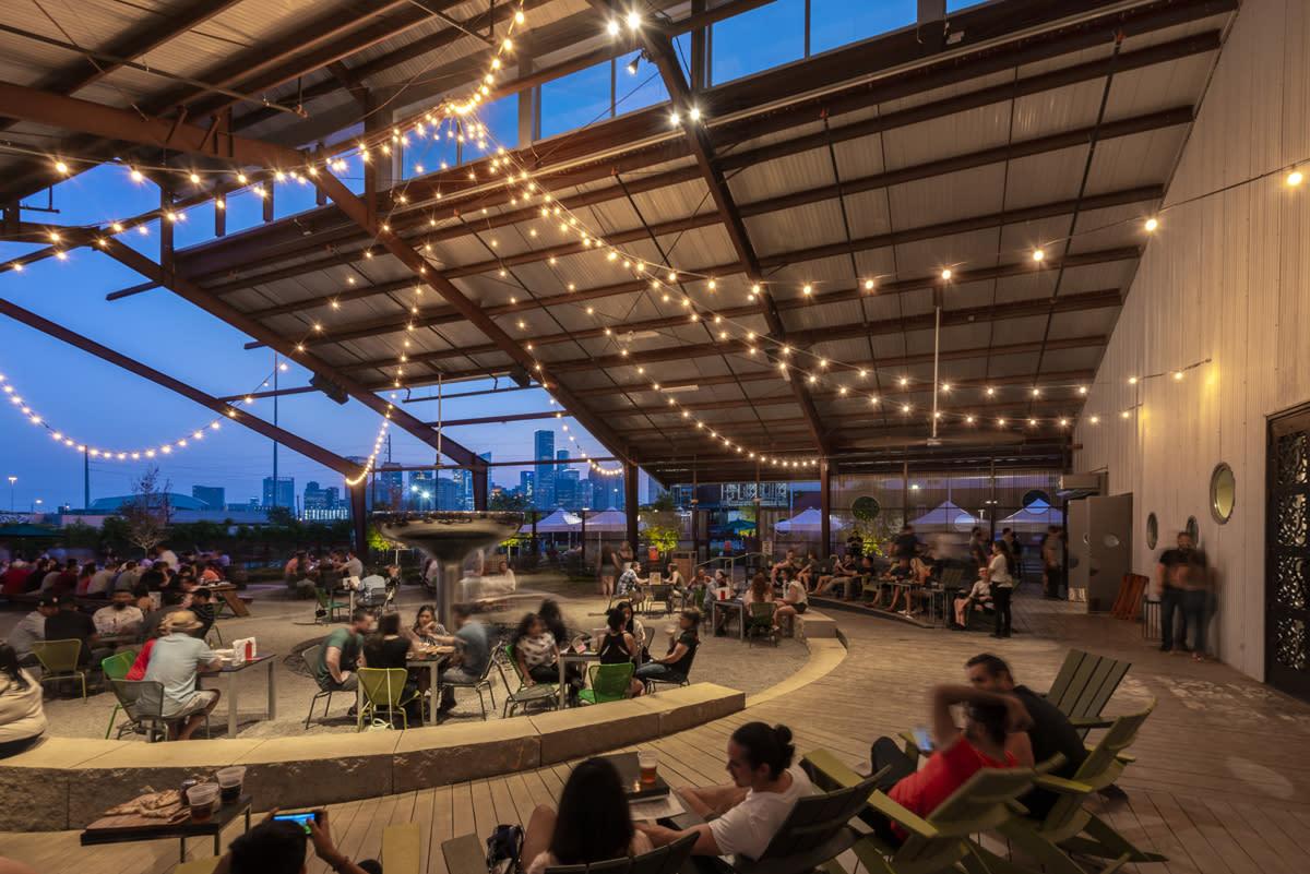 Saint Arnold Beer Garden night with people