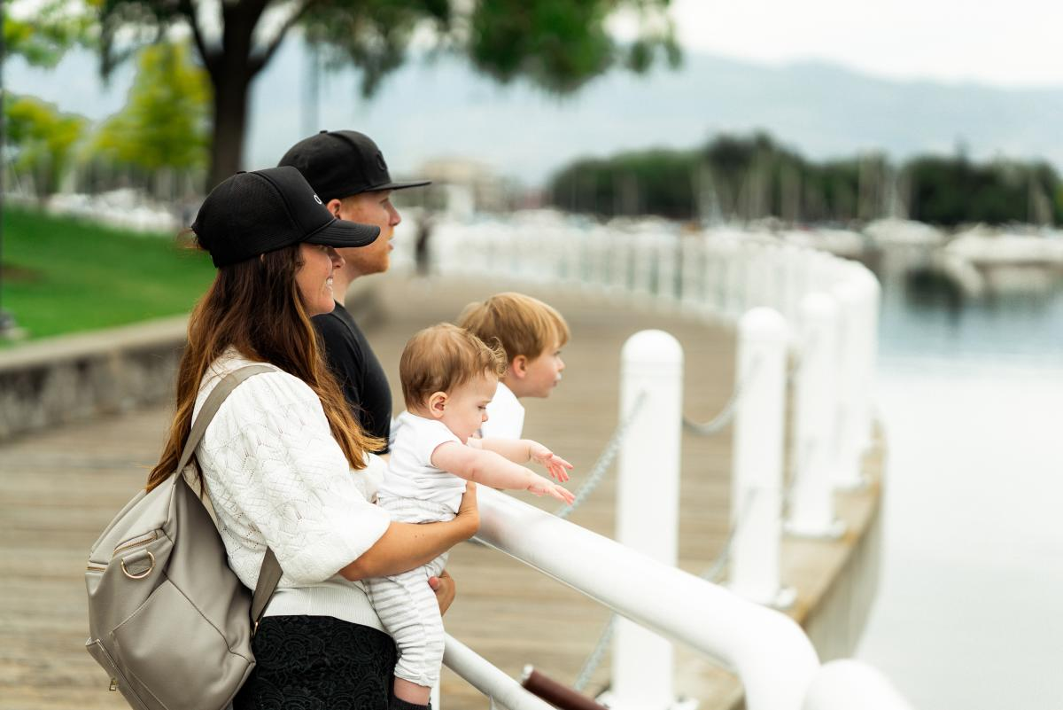 Family at Waterfront Boardwalk