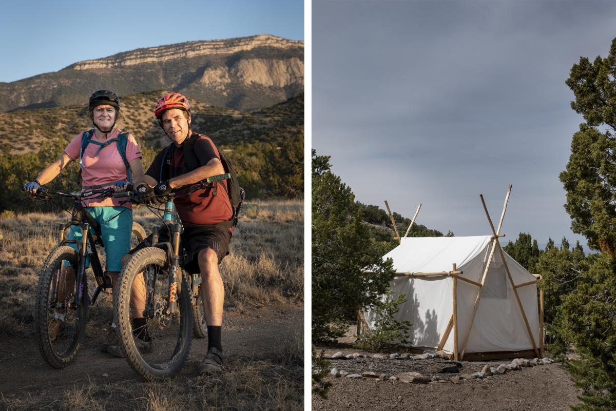 Bikers at one of the Placitas Area Trails (left) and a tent-for-rent at El Campo del Oso (right)