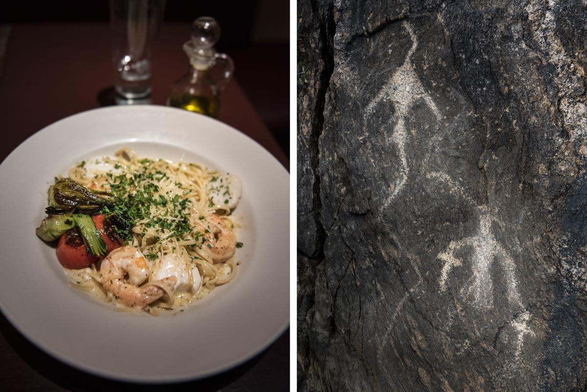 A divine dinner from Blades' Bistro (left) and two petroglyphs on the Del Agua Trail (right).