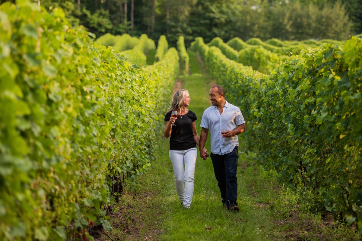 Sipping Wine at Bowers Harbor Vineyards