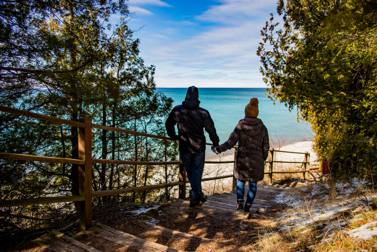 Couple hiking in winter