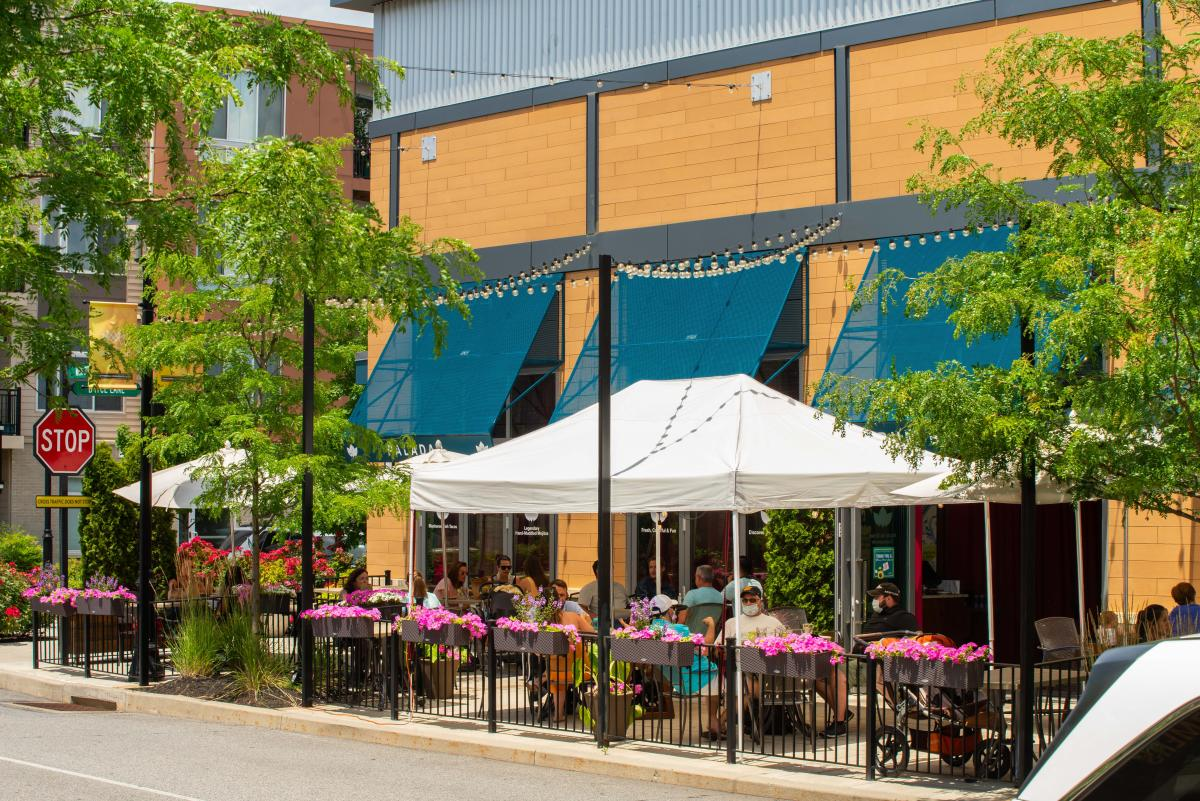 Outdoor dining during the Green Phase of COVID 19 July 2020 at the KOP Town Center