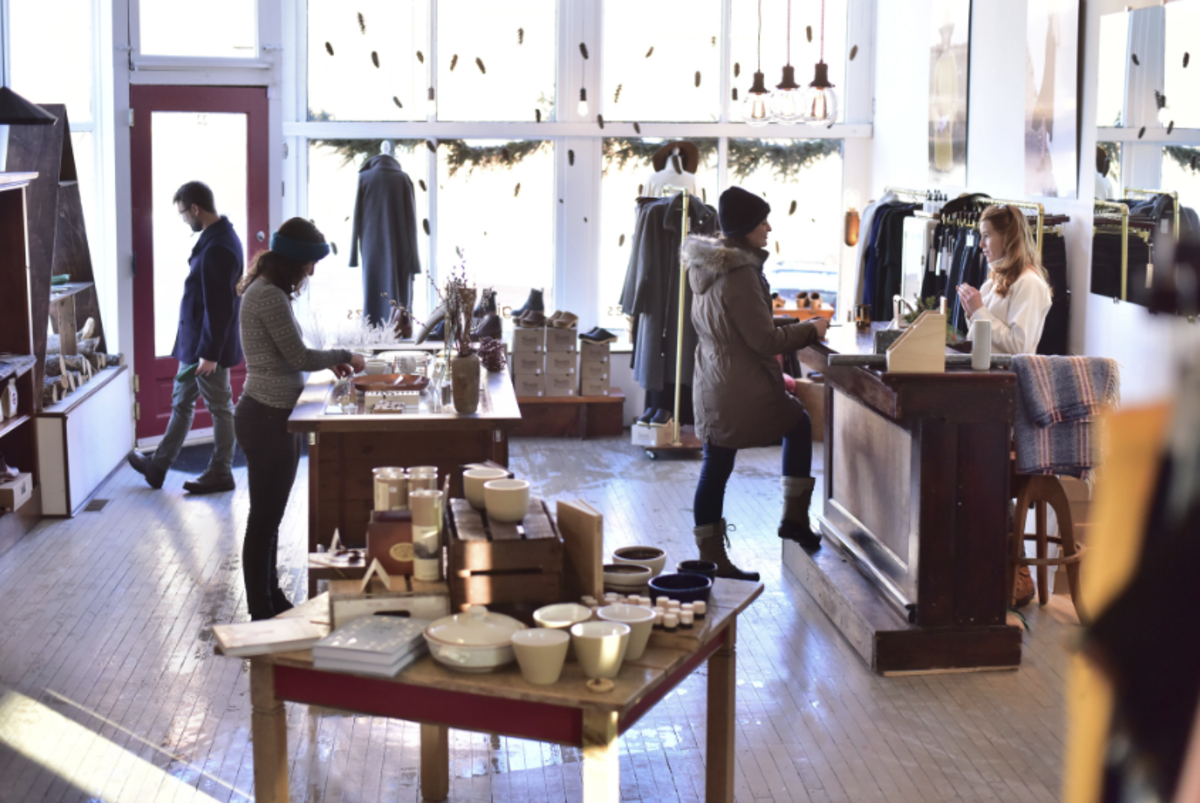 People shopping at Red's Mercantile in downtown Eau Claire