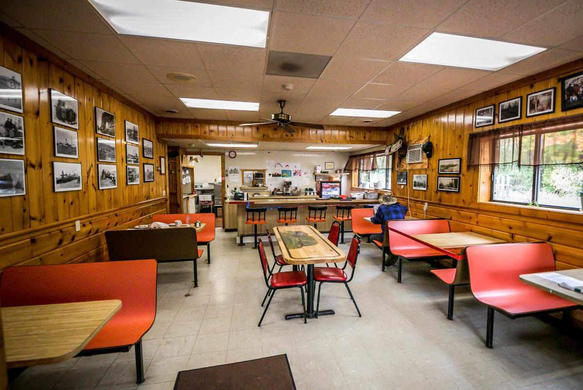The interior of Cram's Hungry Hollow Cafe in Big Bay, MI