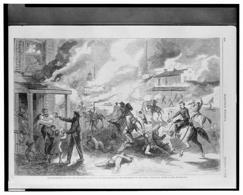Engraving of Quantrill's Raid from Harper's Weekly, September 5, 1863 (Library of Congress)