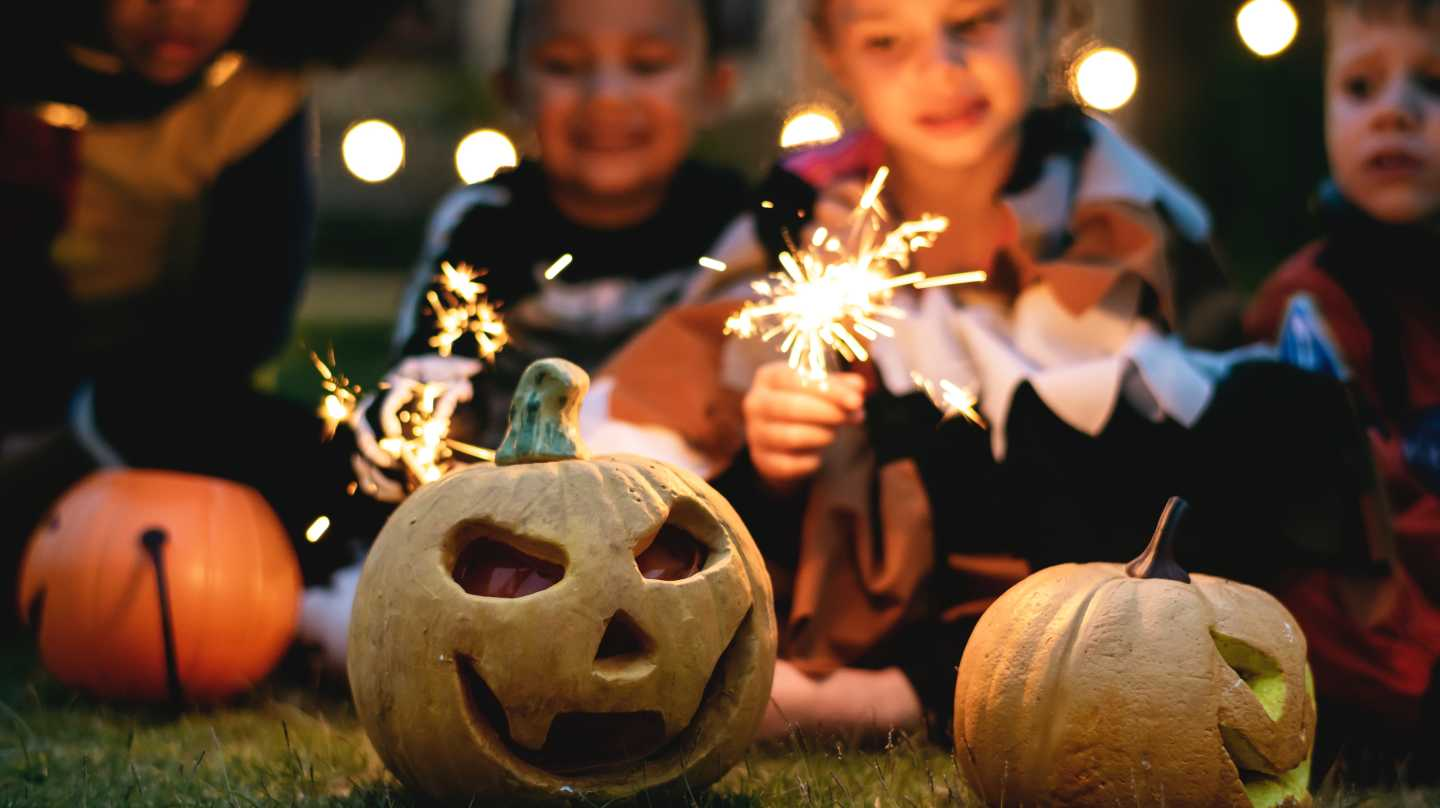 Halloween pumpkins and sparklers