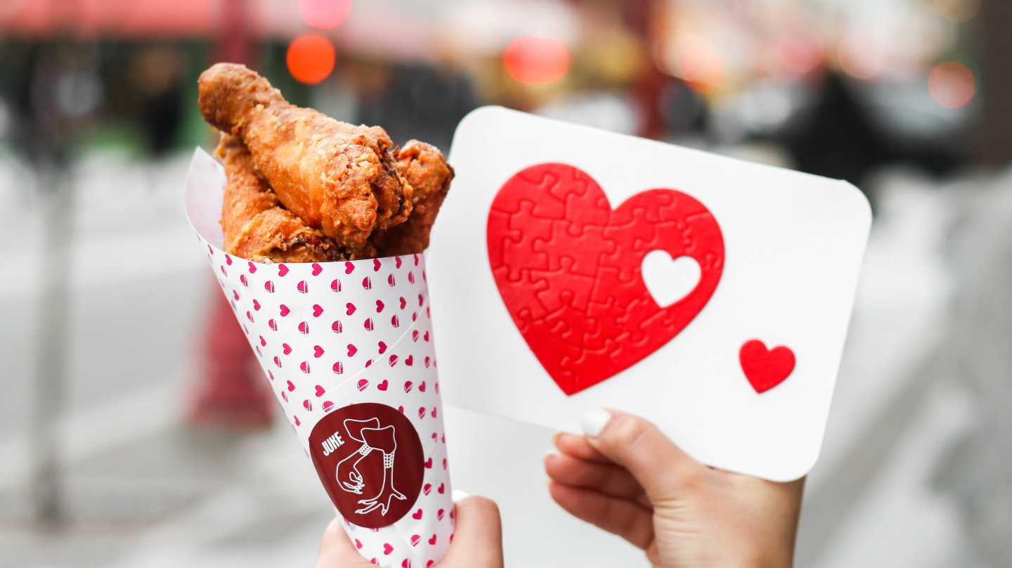 Fried Chicken Bouquet with heart puzzle