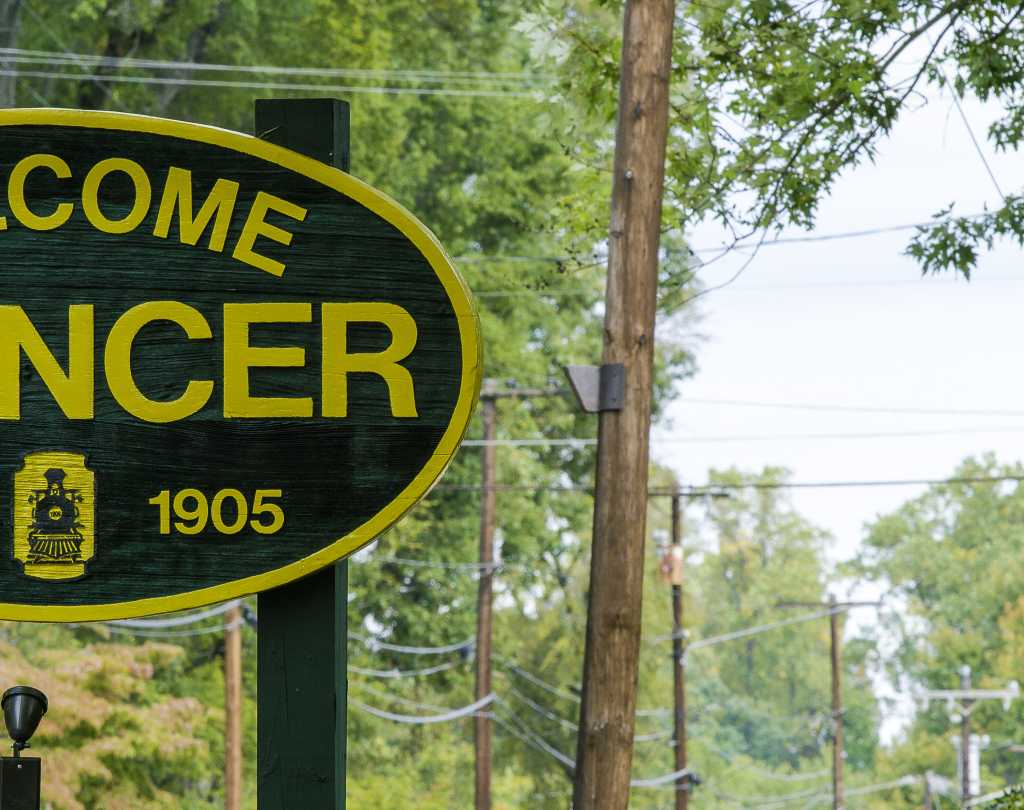 Welcome sign for town of Spencer