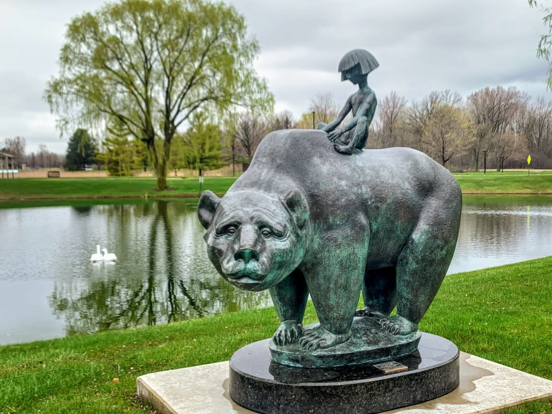 """""""The Boy and the Bear"""" sculpture at Marshall M. Fredericks Sculpture Museum in Saginaw"""