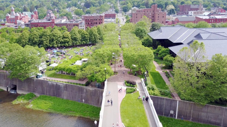 GlassFest Concert Centerway Pedestrian Bridge Drone Shot