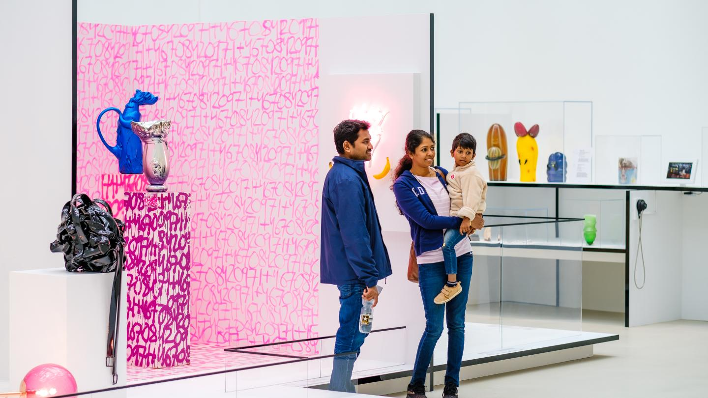 Family Exploring New Glass Now Exhibit in the Contemporary Art + Design Wing at CMoG