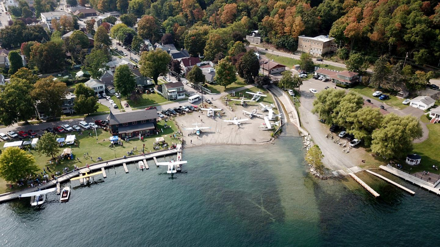Depot Park Wirth Seaplanes and Hammondsport Aerial Shot During Wings & Wheels
