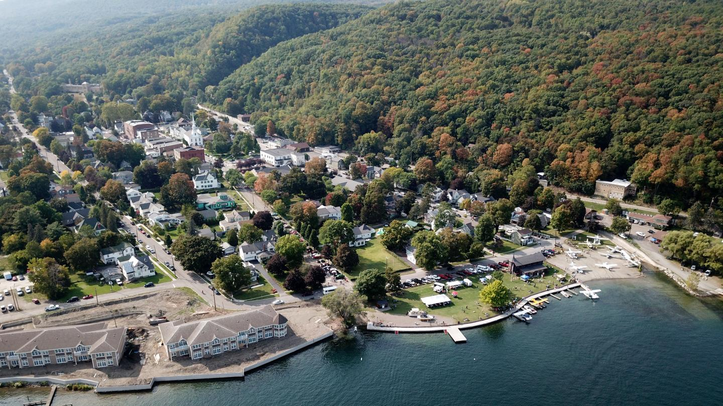 Depot Park With Seaplanes and Hammondsport Drone Shot During Wings & Wheels