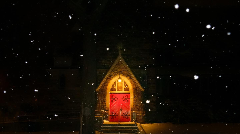Winter Snowfall Red Church Door