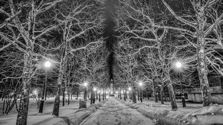 Centerway Black & White Winter Evening