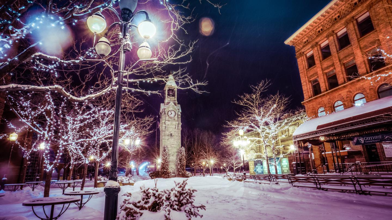 Magical Centerway Square Winter Evening Clocktower