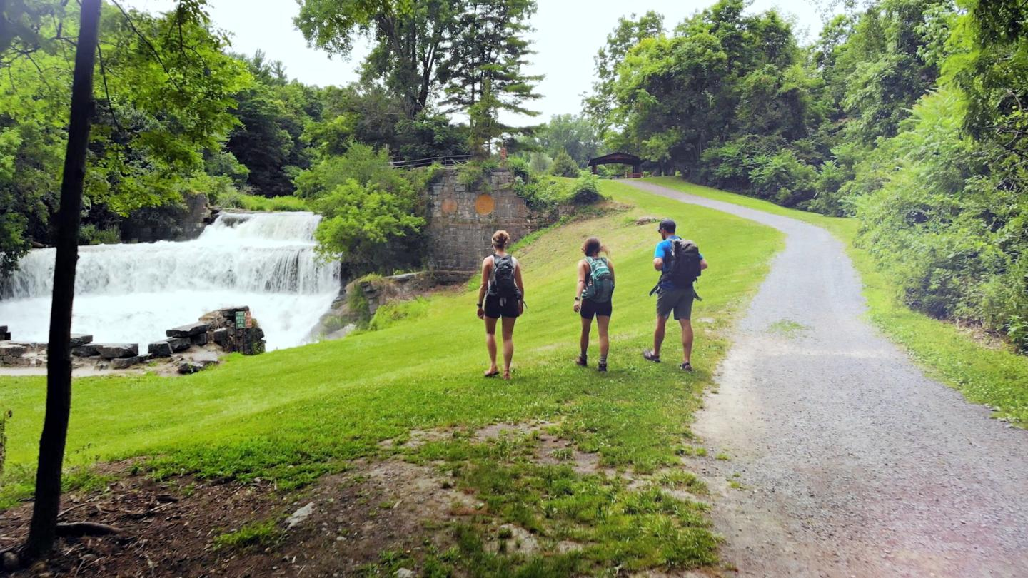 Keuka Outlet Trail Hikers Waterfall Seneca Mills Falls