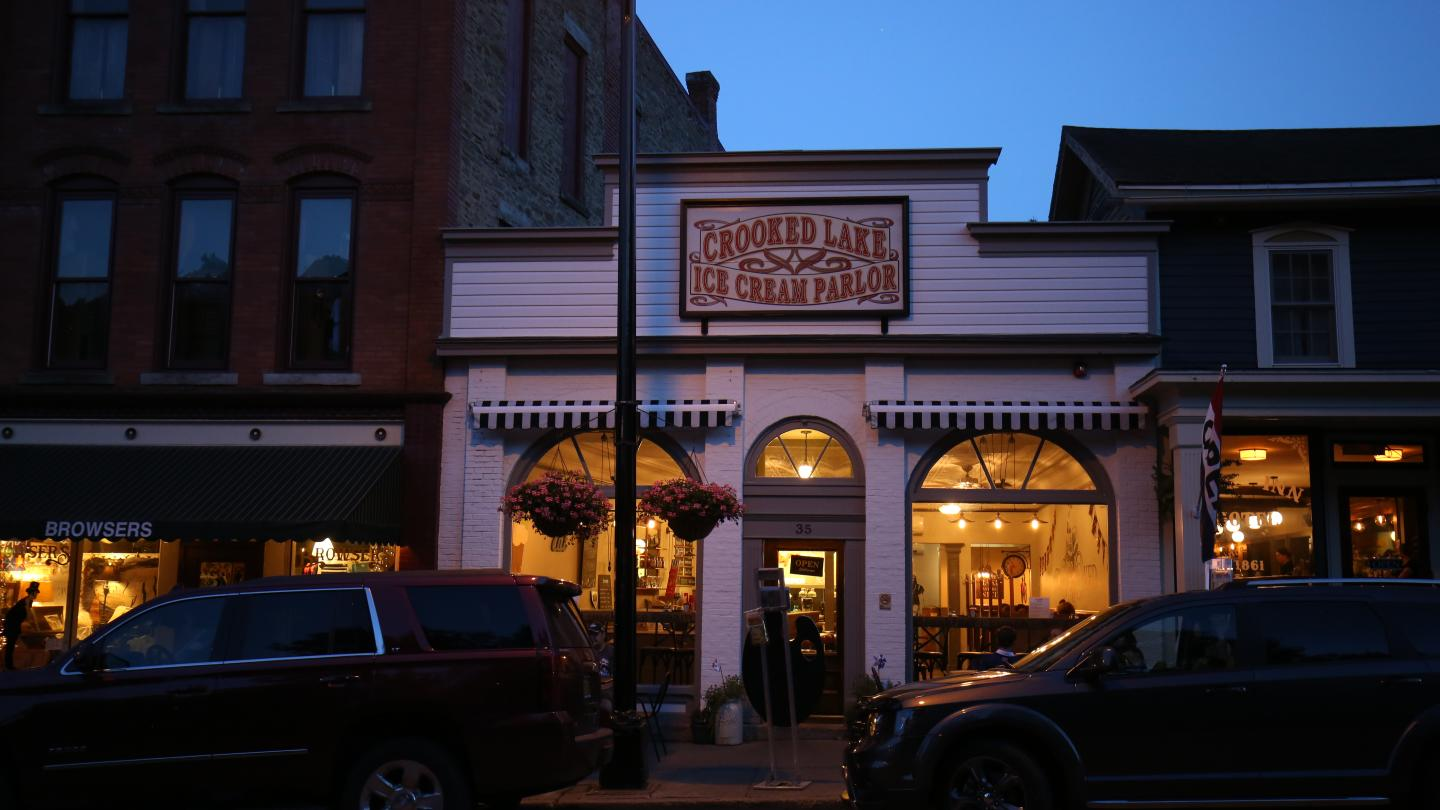 Crooked Lake Ice Cream Company Evening Charming Small Town