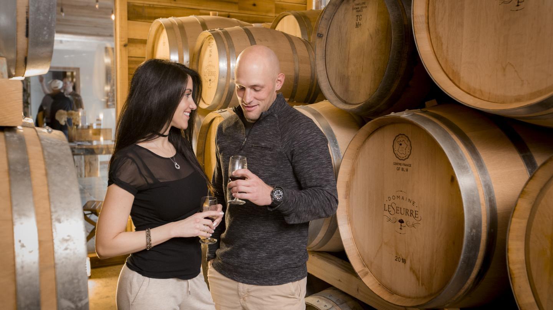 Domaine LeSeurre Romantic Couple Tasting Barrel Room