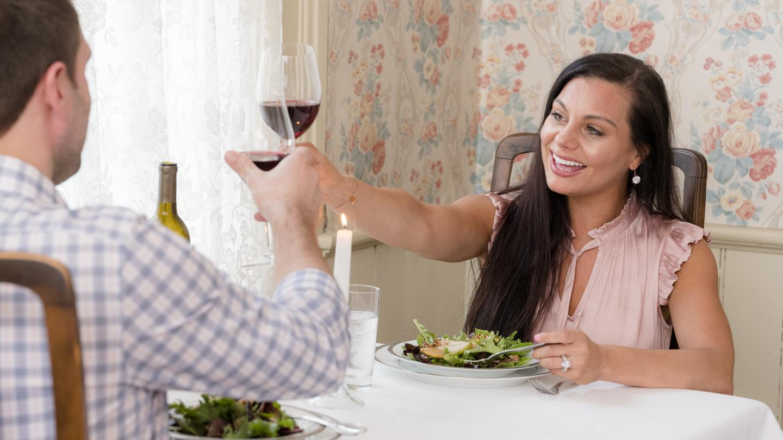 Romance Couple Dinner at Pleasant Valley Inn Toasting Wine