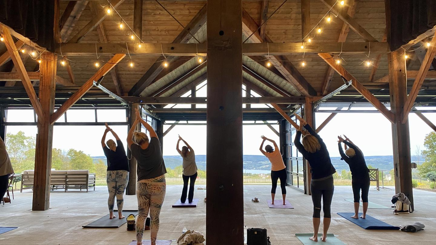 Yoga at the Pavilion Point of the Bluff Vineyards