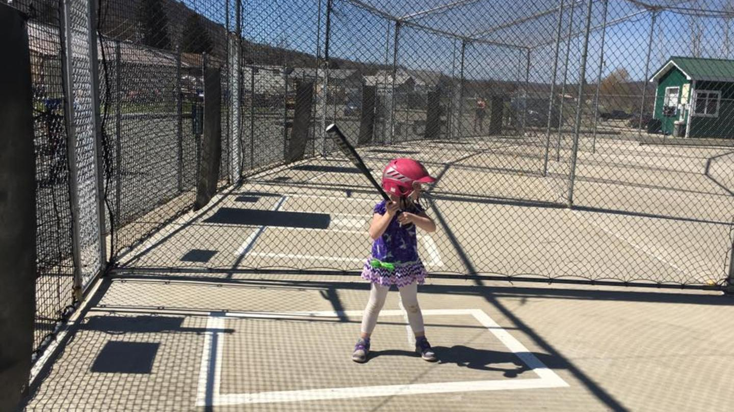 4-Year-Old Getting Batting Practice courtesy Park Ave Sports Center
