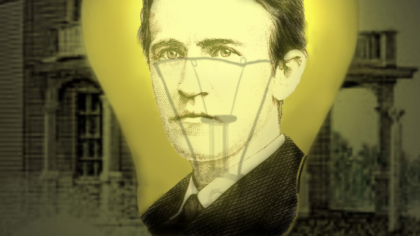 Edison and Light Bulb Graphic