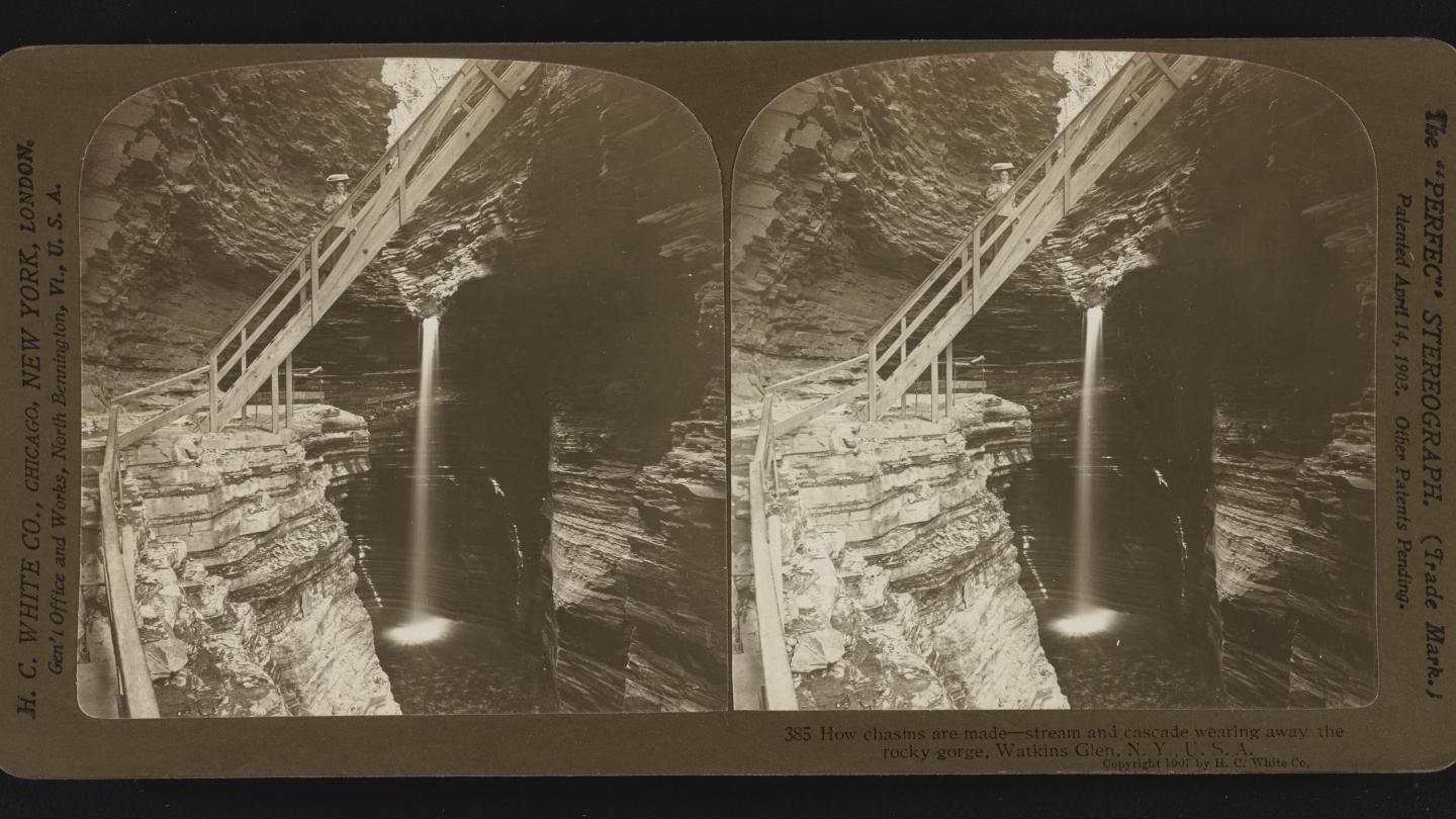 How chasms are made--stream and cascade wearing away the rocky gorge, Watkins Glen, N.Y., U.S.A. 1907 courtesy Library of Congress Prints and Photographs Division Washington DC