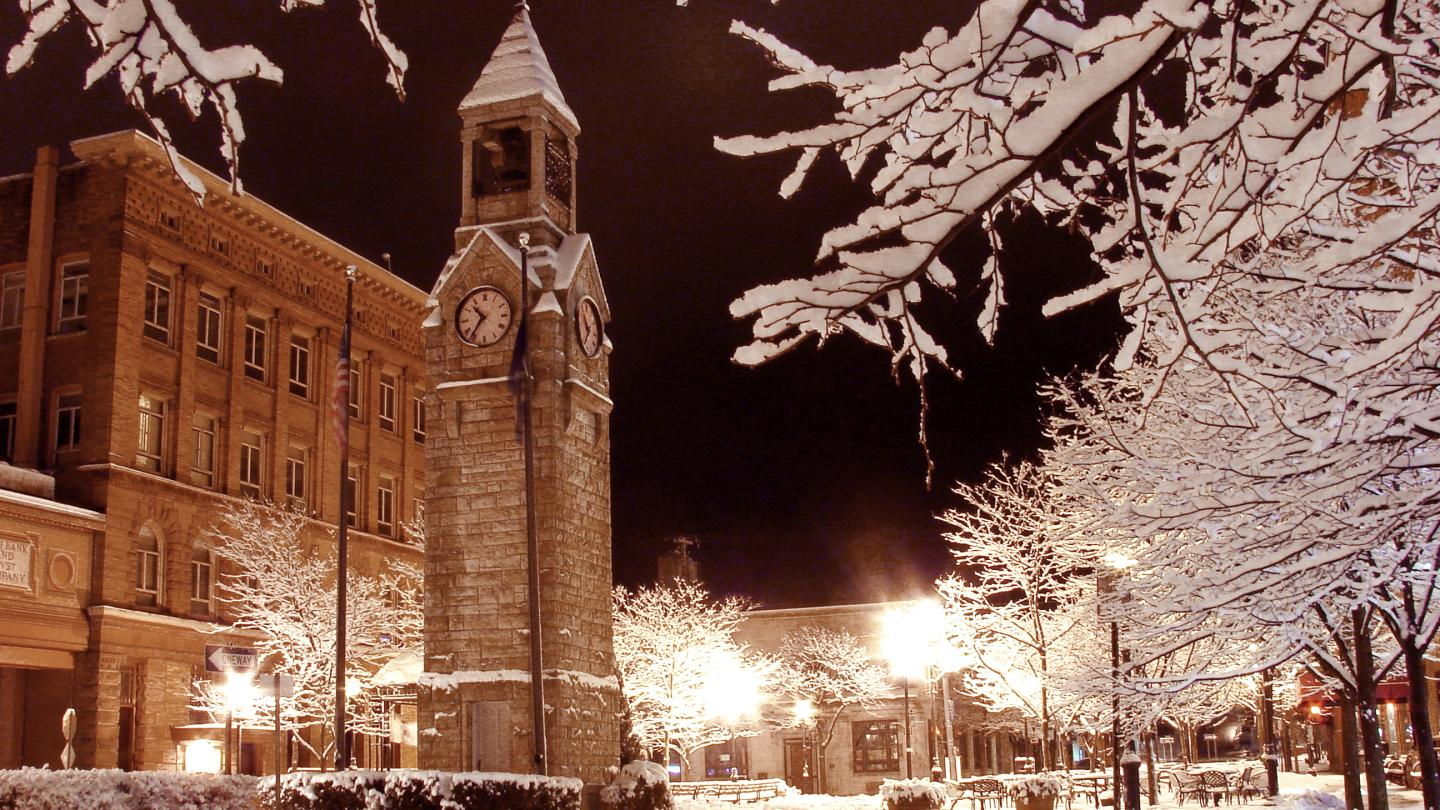 Corning Clocktower in Winter