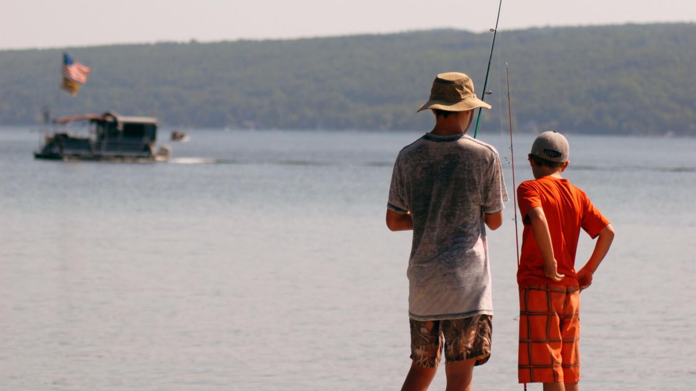 Boys Fishing from Dock at Depot Park Summer