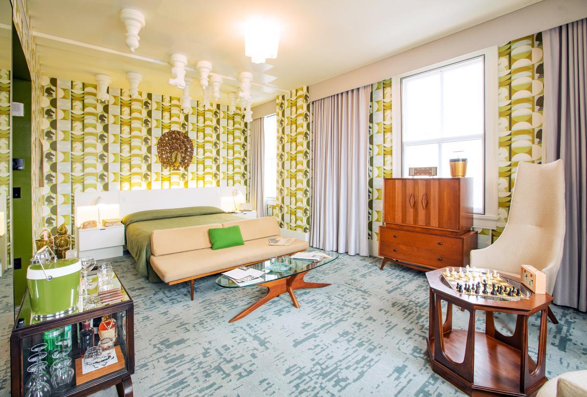Queen's Gambit themed hotel room at 21c.