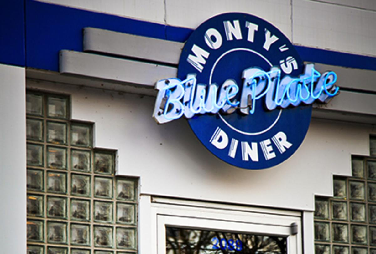 The neon exterior sign at Monty's Blue Plate Diner in Madison