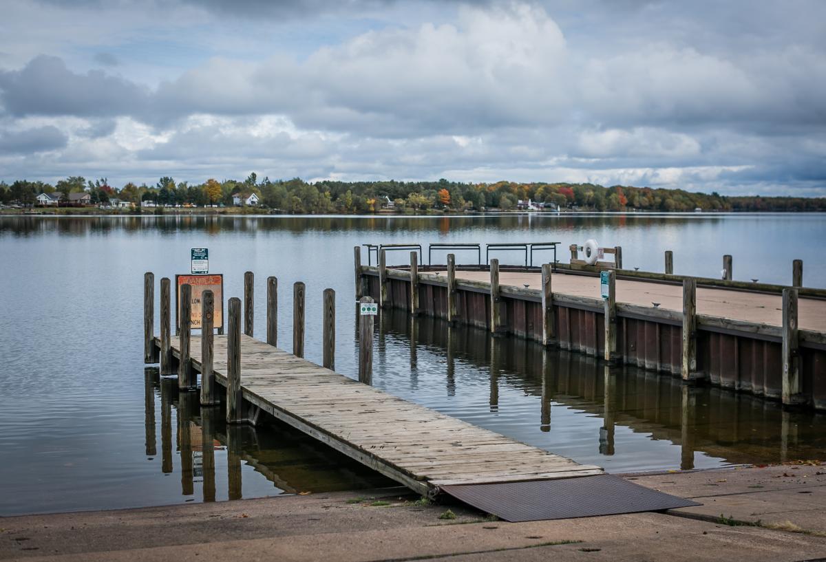 A wooden boat lunch dock in Big Bay, MI