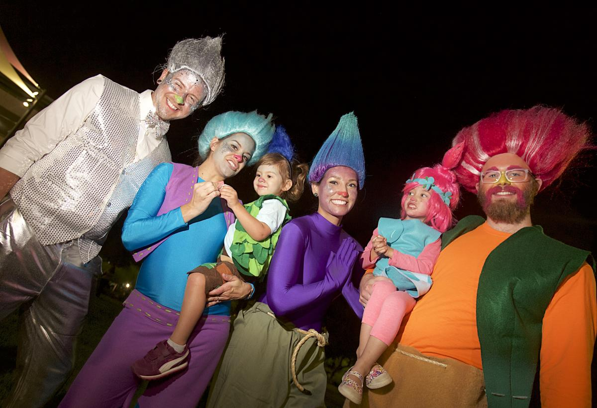 "Family Dressed as ""Trolls"" in the Halloween Spooktacular - Costume Contest"