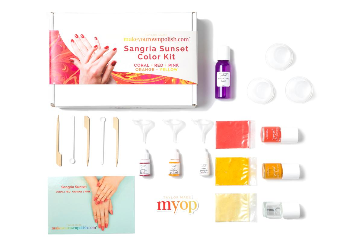 Sangria Sunset color nail polish kit contents in Easton, PA