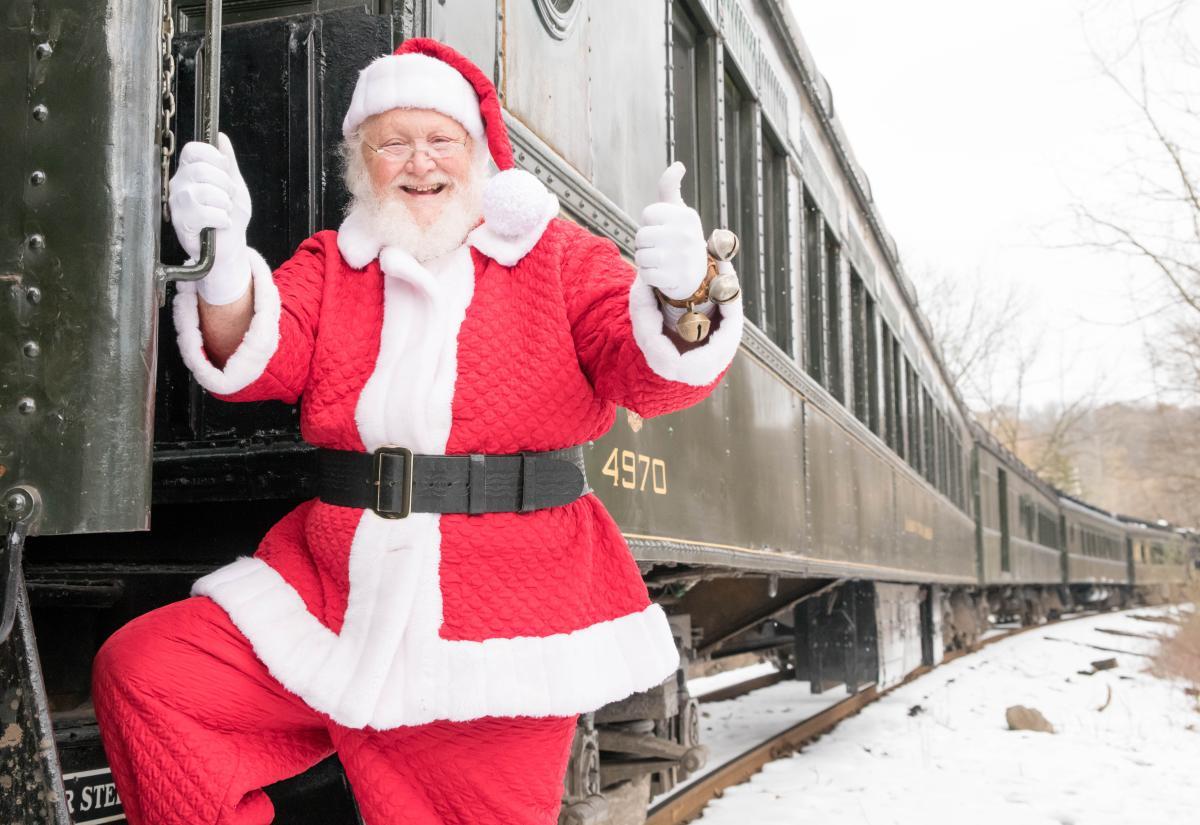 Santa Boarding Train