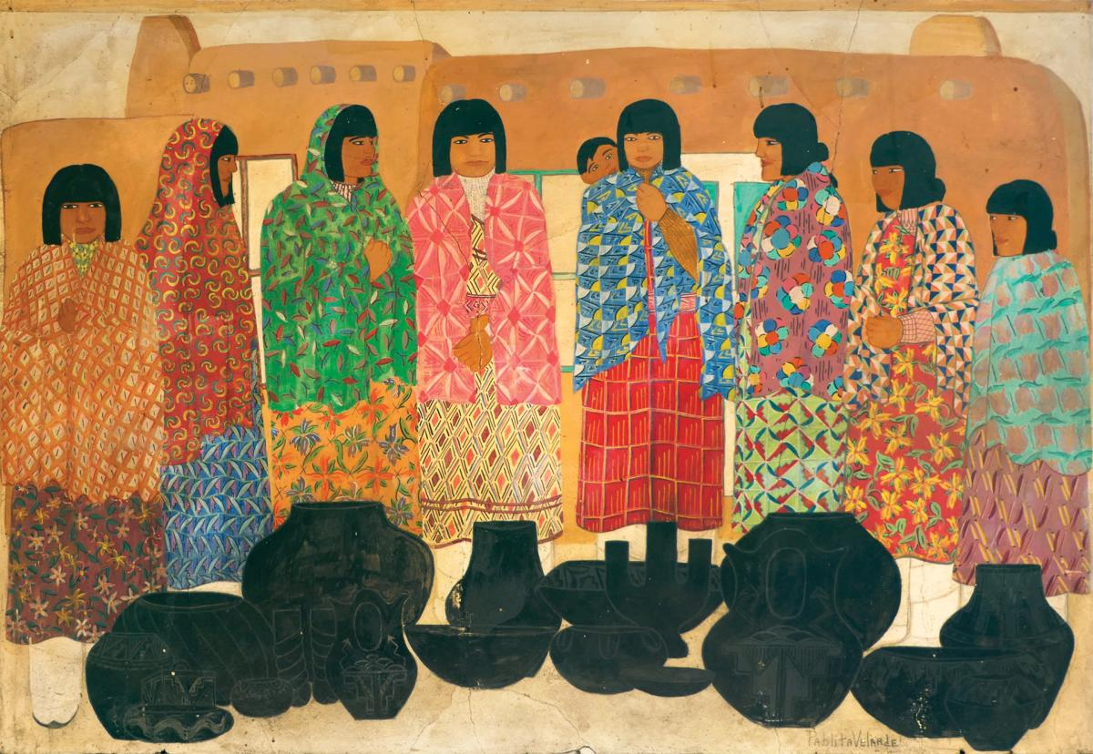 Historic Murals: Pablita Velarde's Santa Clara Women Selling Pottery, New Mexico Magazine
