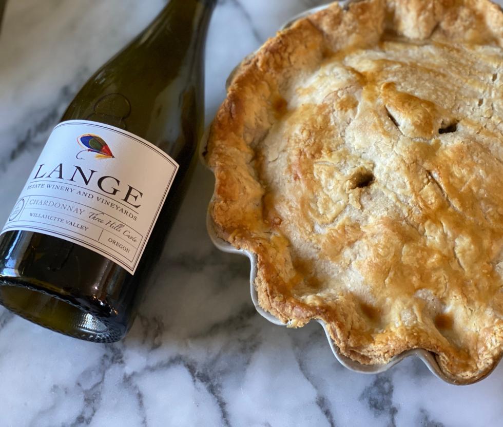 Bottle of Lange Chardonnay with chicken pot pie