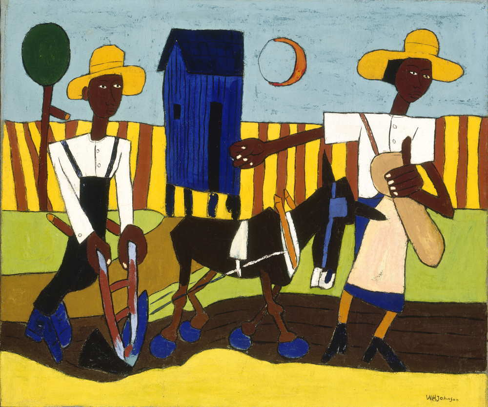 William H. Johnson, Sowing, about 1940. Oil on burlap, 38 ½ x 45 ¾ inches. Smithsonian American Art Museum, Washington, D.C., Gift of the Harmon Foundation